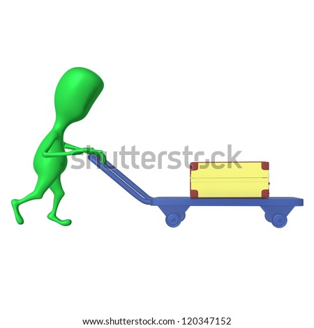 Reduced view green puppet push trolley with case - stock photo
