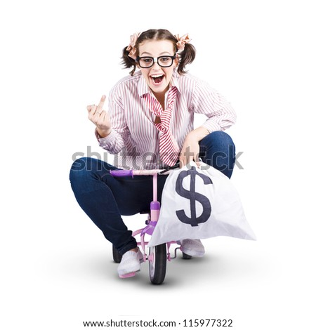 Redundant Business Person Riding Kids Bike With A Bag Of Money In A Funny Depiction Of A Payout