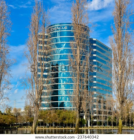 Redwood City, CA - Dec. 14, 2014: The Oracle Corporation. Founded in 1977, the Oracle Corporation is a high technology computer software and hardware company headquartered in Redwood City, CA., USA. - stock photo