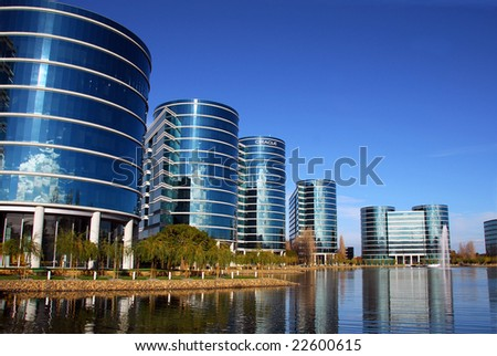Redwood City, Ca - December 28, 2008: Oracle Company Headquarter buildings during the Christmas holidays