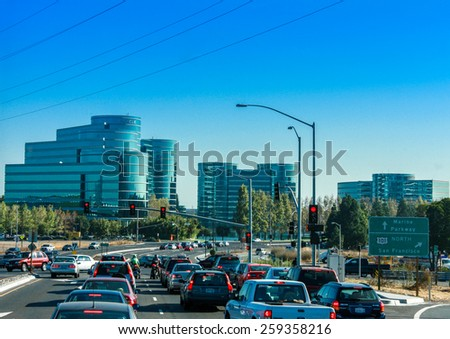 REDWOOD CITY, CA, USA - SEPT 24, 2008: Traffic on the road to Oracle Headquarters in Redwood City, CA, USA on Sept 24, 2008. Oracle is a multinational hardware and software technology corporation