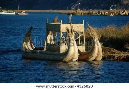 Reed boats on Titicaca Lake, Peru - stock photo