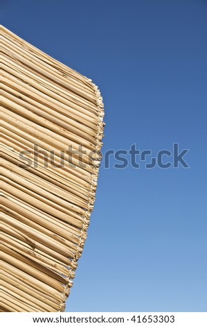 Reed Roof of a Hut on the Uros Islands in Lake Titicaca, Peru