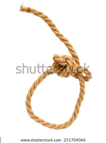 Reef Knot by paper rope isolated on white