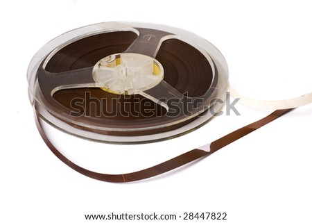 Reel of audio tape isolated on white background