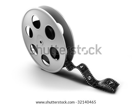 Reel of 35mm motion picture film on a white background - stock photo