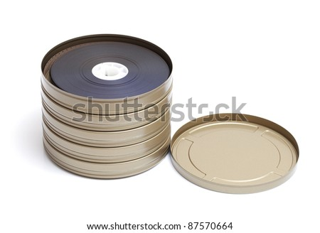 Reels of Film on a white background - stock photo