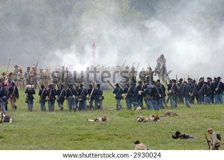 Reenactment of the American Civil War Battle of Tunnel Hill Ga. The original Battle occurred in May of 1864 and signaled the start of the Atlanta Campaign. - stock photo