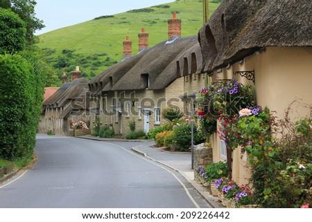 reet houses beside the street, in the little village lulworth, dorset - stock photo