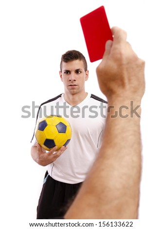Referee show red card to soccer player, isolated on white.