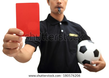 Referee showing a red card on white background clipping path - stock photo