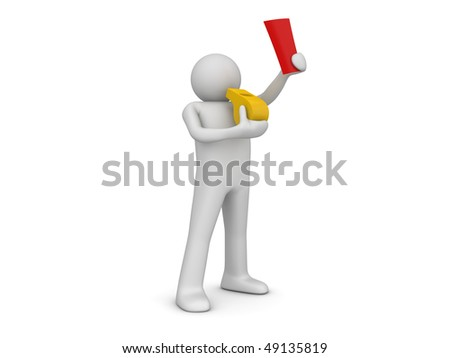 Referee whistle showing red card (3d isolated on white background sports characters series) - stock photo