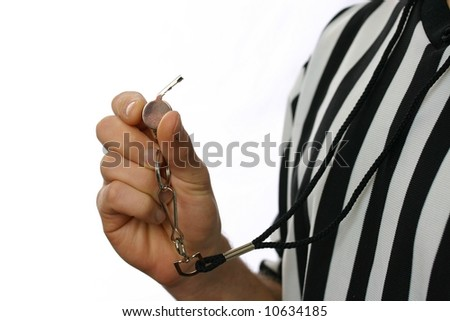 Referee with whistle - stock photo