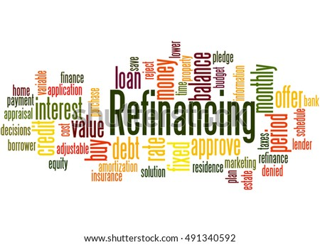 Refinancing, word cloud concept on white background.