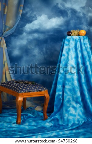 Refined abstract interior in the blue colors - stock photo
