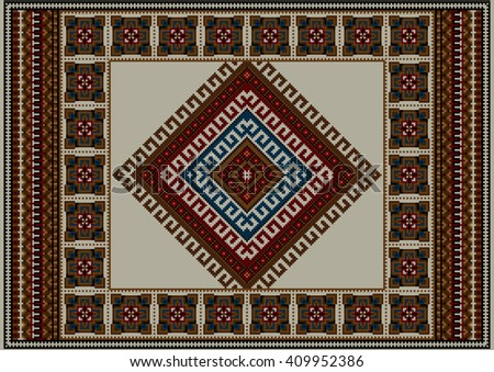 Refined vintage ethnic carpet with beige at the middle - stock photo