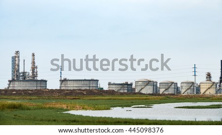 Refineries at the blue sky white clouds the sky background