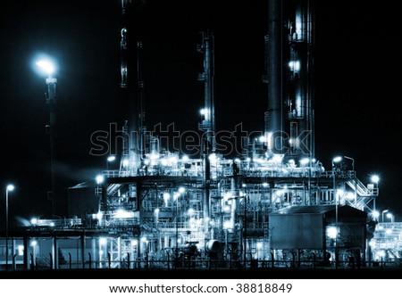 refinery complex, night - stock photo