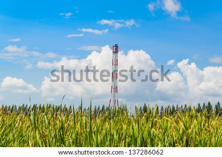 Refinery flare with the grass foreground and blue sky background - stock photo