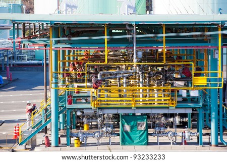 Refinery main pipeline and filling station, typical scene inside refinery. - stock photo