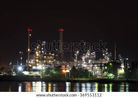 refinery oil at night