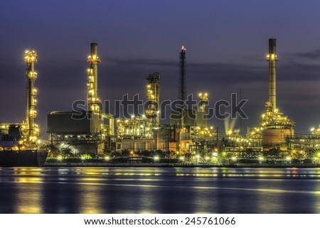 Refinery plant area at twilight morning - stock photo