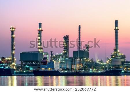 Refinery plant area at twilight morning ,Thailand - stock photo