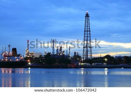 Refinery plant area at twilight Panorama - stock photo