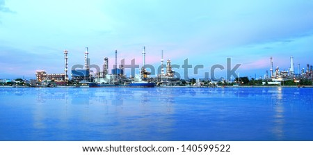 Refinery plant area at twilight panorama - stock photo
