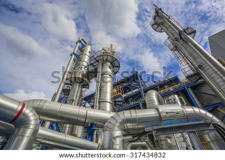 Refinery tower structure in petrolume plant  - stock photo