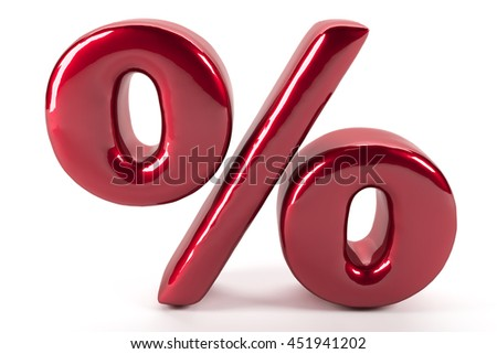 Reflected percent red sign on white studio background 3d render