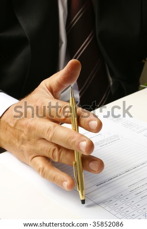 Reflection before filling a form - stock photo