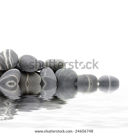 Reflection for natural grey stones for a corner - stock photo