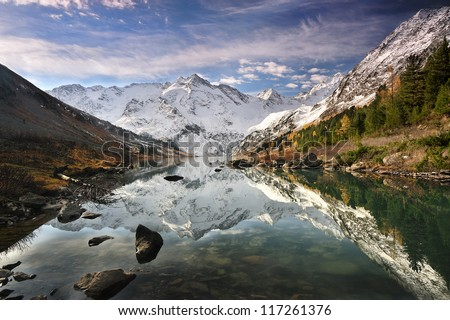 Reflection in a mountain lake - stock photo