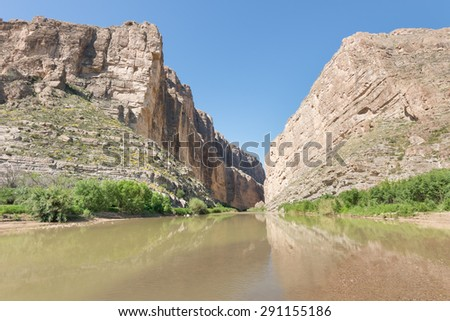 Reflection in Santa Elena Canyon, on the Ross Maxwell Scenic Drive, in Big Bend National Park, Texas. - stock photo