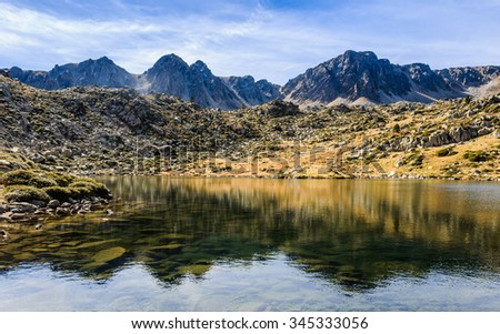 Reflection in the circuit of Lake Pessons, Andorra
