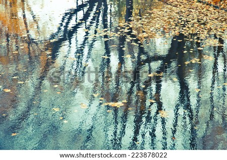 Reflection in water of an autumn landscape.Abstract background.Retro filter. - stock photo