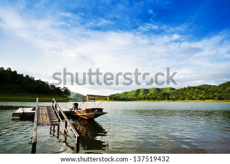 Reflection in water of mountain lakes and boats