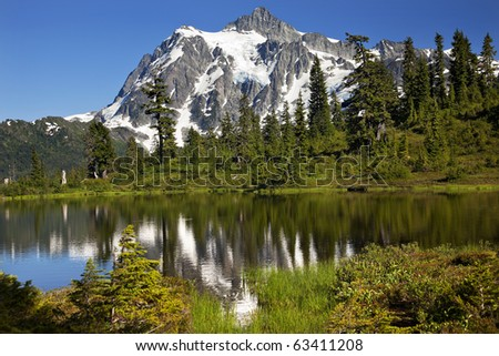 Reflection Lake Mount Shuksan Mount Baker Highway Snow Mountain Grass Trees Washington State Pacific Northwest - stock photo