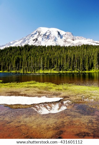 Reflection Lake, Mt Rainier National Park - stock photo