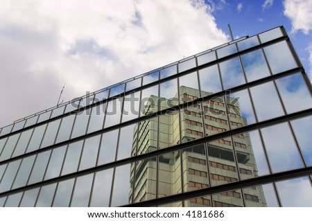 Reflection of an office building