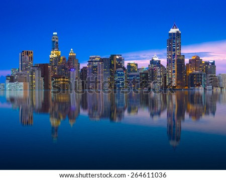 reflection of Bangkok city at night, Thailand - stock photo
