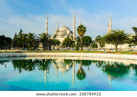 Reflection of blue mosque (Sultanahmet) - stock photo