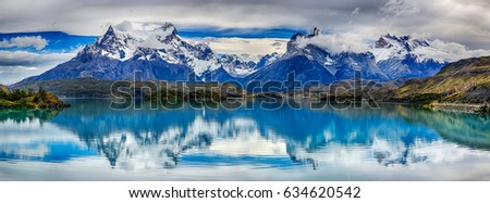 Reflection of Cuernos del Paine at Lake Pehoe - Torres del Paine N.P. (Patagonia, Chile)