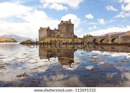Reflection of Eilean Donan Castle, Highland Scotland. - stock photo