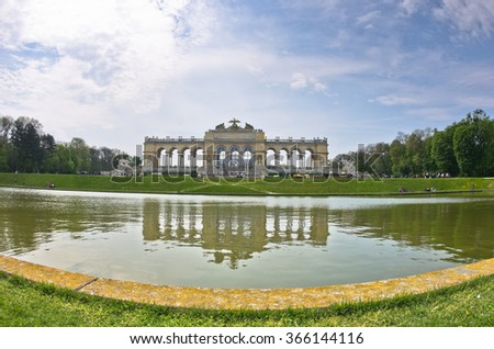 Reflection of Glorietee building at Schenbrunn palace in Vienna, Austria - stock photo