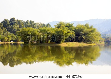 Reflection of Lake garden in Taiping Malaysia - stock photo