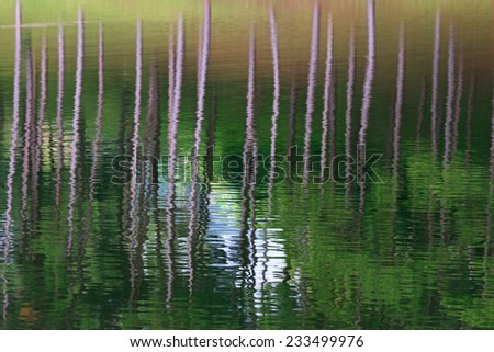 Reflection of lake in Pang Ung Forestry Plantations, Maehongson Province, North of Thailand - stock photo