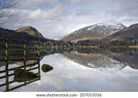 Reflection of mountains and fence in a Lake District mountain lake