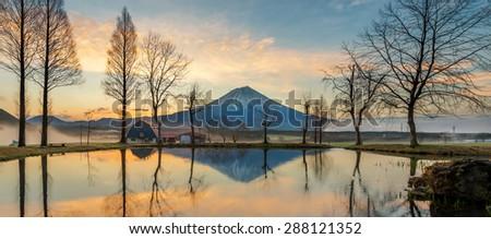 Reflection of Mt.fuji Japan - stock photo
